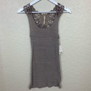 NWT People Tank Top with Embroidered Design